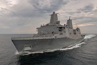 Ingalls Shipbuilding announced today that the amphibious transport dock Portland (LPD 27) has completed her first set of sea trials. Ingalls' test and trials team spent four days in the Gulf of Mexico operating the 11th San Antonio-class ship and demonstrating its systems.